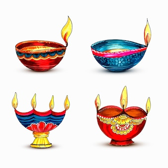 Aquarell bunte lampen für diwali festival
