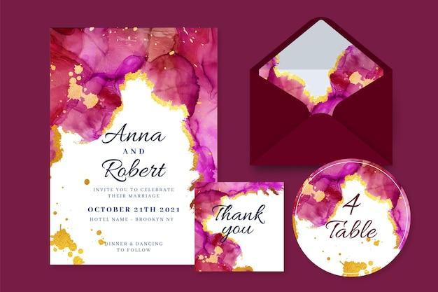 Aquarell burgund und goldenes hochzeitsbriefpapier
