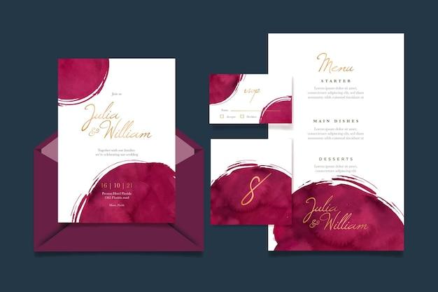 Aquarell burgunder und goldene hochzeit briefpapier pack
