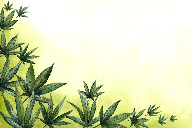 Aquarell cannabis blatt tapete
