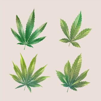 Aquarell cannabisblätter gesetzt
