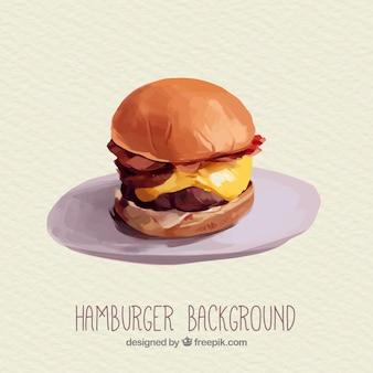 Aquarell cheeseburger hintergrund