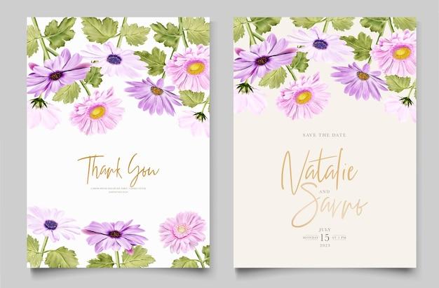 Aquarell chrysanthemenhochzeitseinladungskarte