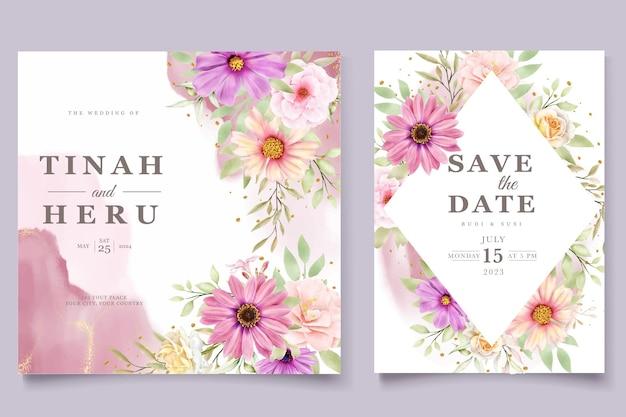 Aquarell chrysanthemum hochzeit einladungskartenset