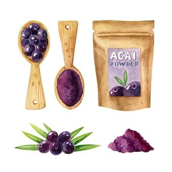 Aquarell clipart mit acai-beeren grüne blätter acai-pulver-holzlöffel und papier-reißverschluss-pack