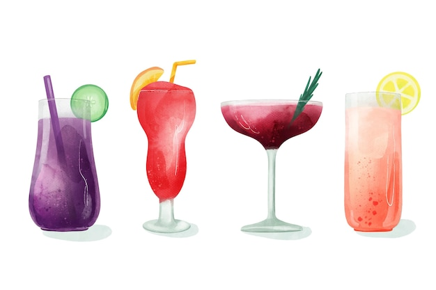 Aquarell-cocktail-illustrationssatz