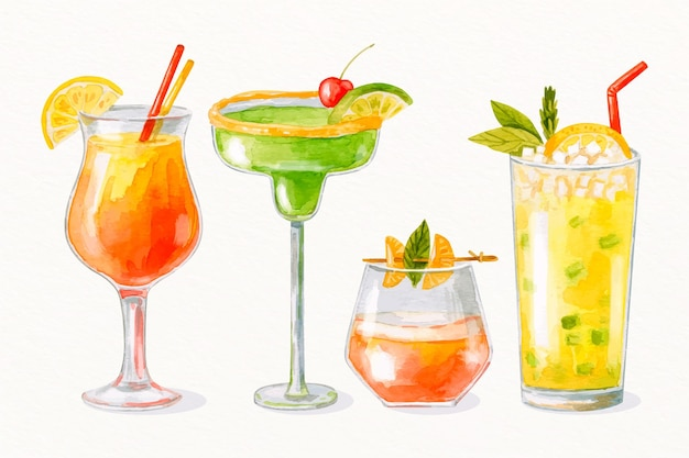 Aquarell-cocktail-sammlung