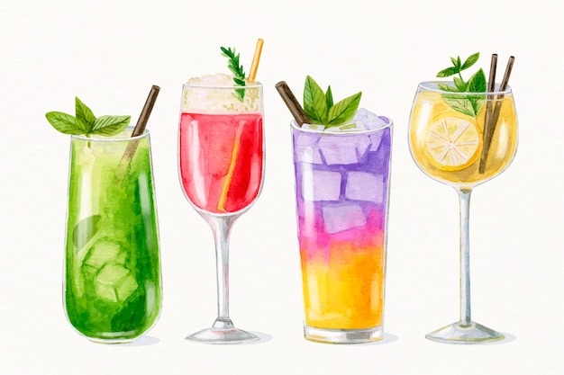 Aquarell-cocktail-sammlung