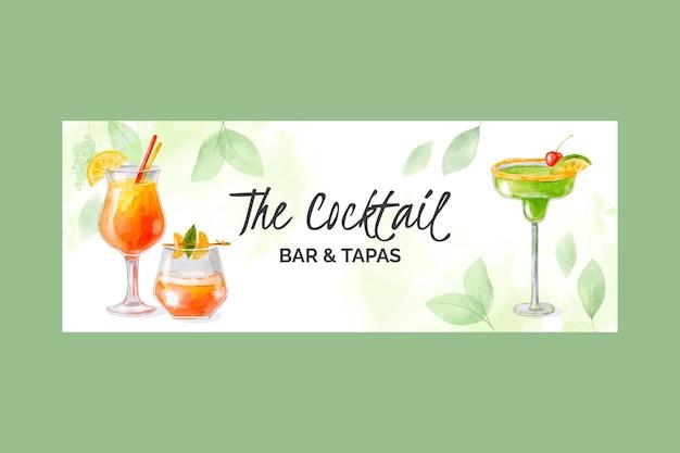 Aquarell-cocktails-social-media-cover-vorlage