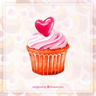 Aquarell cupcake hand bemalt