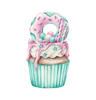 Aquarell cupcake mit dessert an der spitze