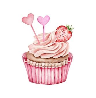 Aquarell cupcake mit erdbeere und herzen