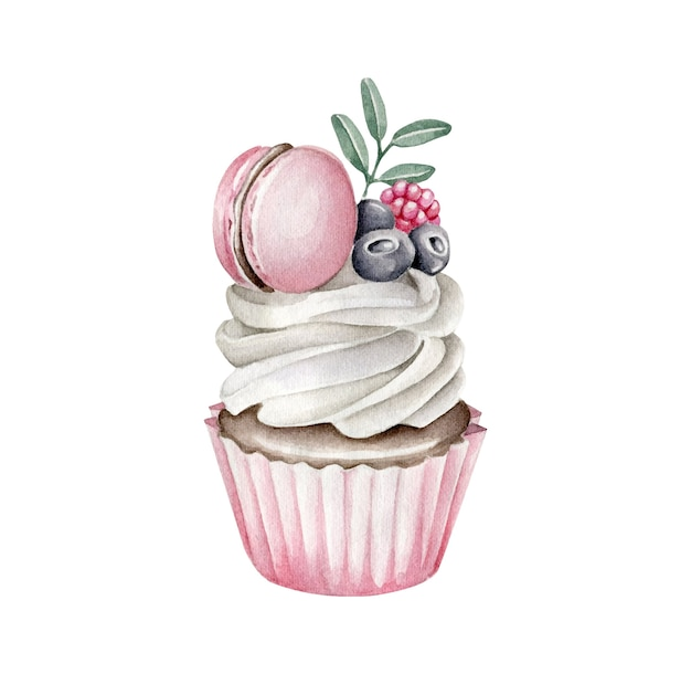 Aquarell cupcake mit makronen und beeren isoliert verziert