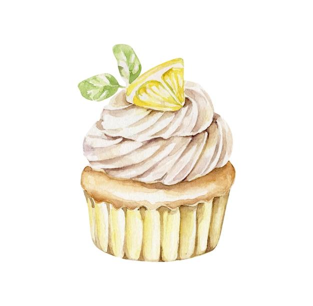 Aquarell cupcake mit zitrone