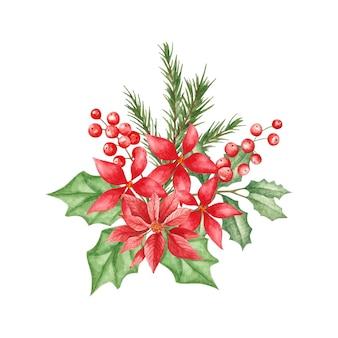Aquarell dekorative weihnachtsbaumzweige und blumenhintergrund