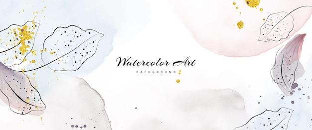 Aquarell der abstrakten kunst mit botanischen dekorativen goldtropfen für erdfarbenen naturfahnenhintergrund. aquarellkunstdesign geeignet für den einsatz als header, web, wanddekoration.