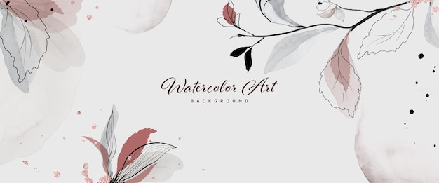 Aquarell der abstrakten kunst mit botanischen dekorativen rosa goldtropfen für naturfahnenhintergrund. kunstdesign geeignet für den einsatz als header, web, wanddekoration. textur aquarellpinsel in der datei enthalten.