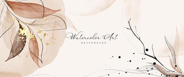 Aquarell der abstrakten kunst verlässt botanisches und goldspritzen für naturfahnenhintergrund. aquarell handgemaltes kunstdesign geeignet für den einsatz als header, web, wanddekoration. pinsel in datei enthalten.