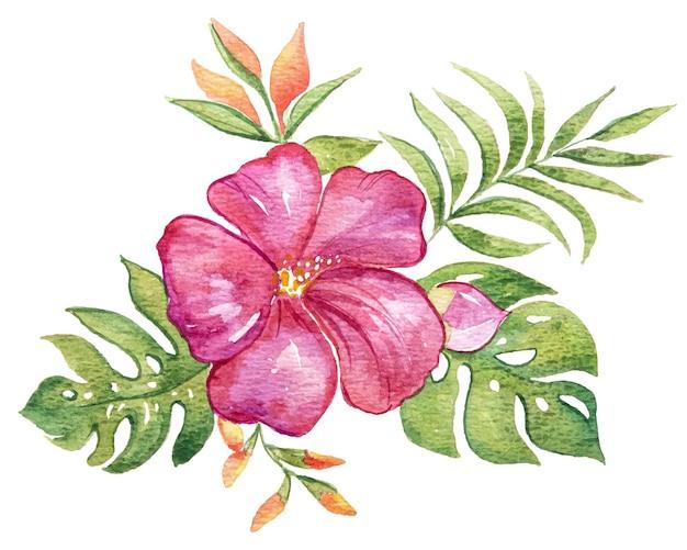 Aquarell der blume hibiskusbouque