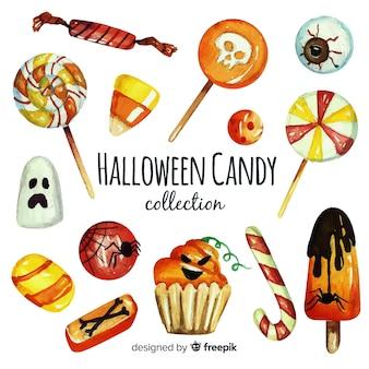 Aquarell der bunten halloween-süßigkeitssammlung