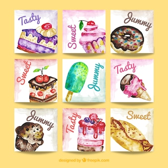 Aquarell dessertkarte sammlung