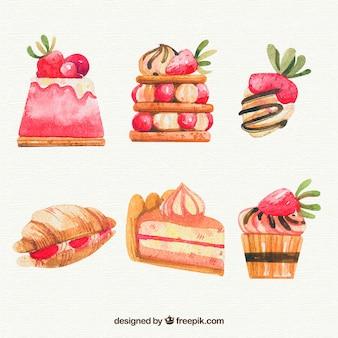 Aquarell desserts gesetzt