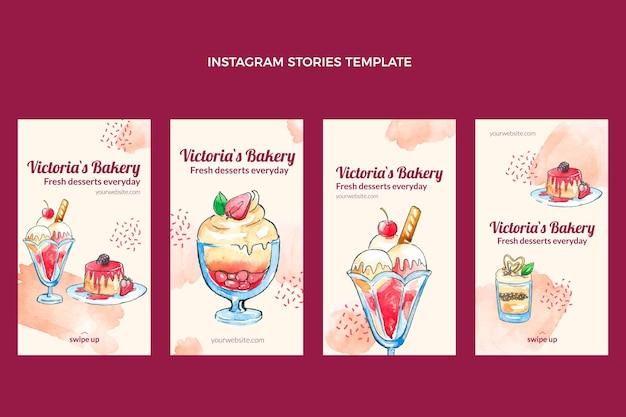 Aquarell desserts instagram geschichten