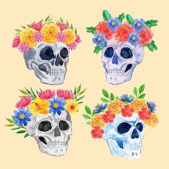 Aquarell dia de muertos schädelkollektion