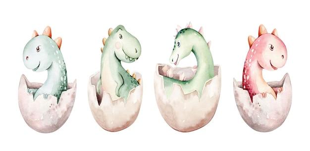 Aquarell dinosaurier isoliert auf weißem hintergrund hand gezeichnete illustration cartoon babyshowe