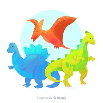 Aquarell-dinosauriersammlung