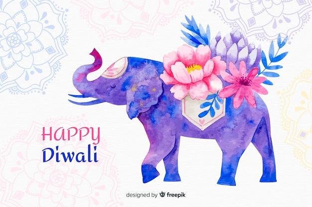 Aquarell diwali hintergrund mit elefanten