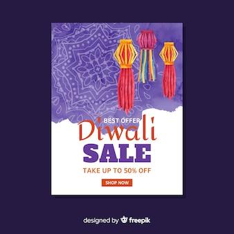 Aquarell diwali verkauf flyer vorlage