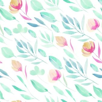 Aquarell einfache frühlingsrosa wildblumen, grüne zweige und blätter nahtloses muster