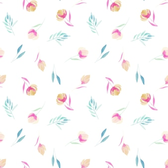 Aquarell einfache rosa wildblumen zweige und blätter nahtlose muster handbemalt auf einem weiß