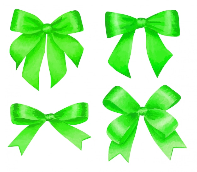 Aquarell eingestellt mit bunten grünen satinschleifen, lokalisiert auf weiß