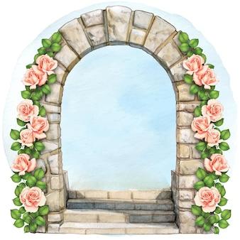 Aquarell eleganter steinbogen handgezeichnet mit kletterblumen