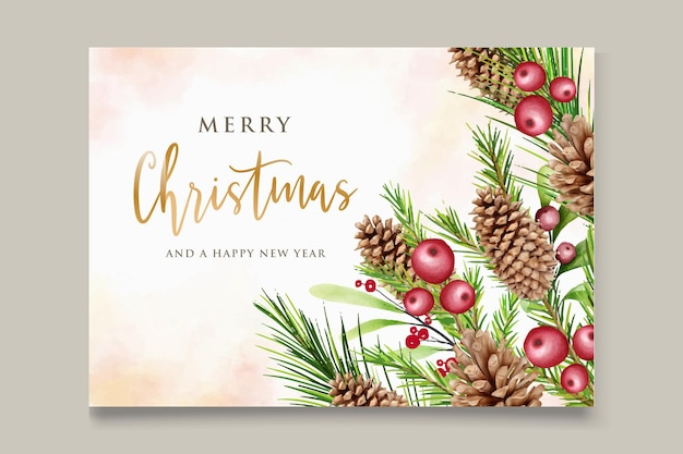 Aquarell eleganter weihnachtskranz mit roter blume und dekorationen