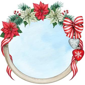 Aquarell eleganter weihnachtskranz mit weihnachtsstern und dekorationen