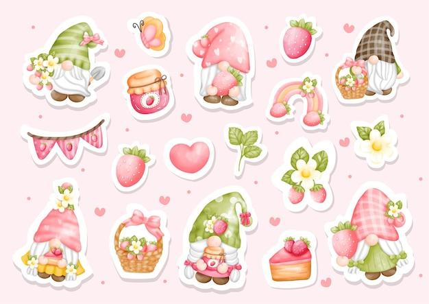 Aquarell erdbeer gnome aufkleber set