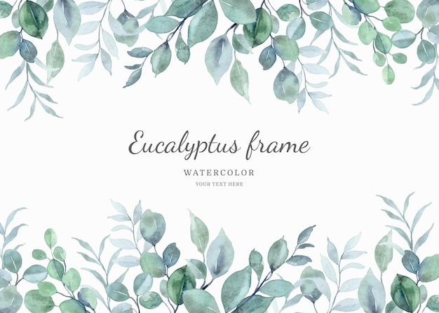 Aquarell-eukalyptus-blatt-rahmen-hintergrund