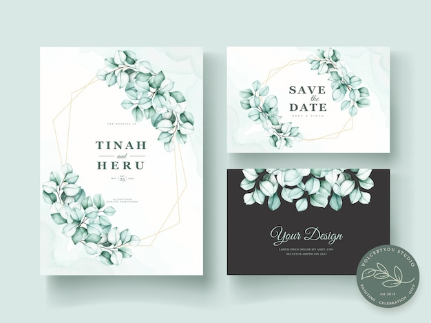 Aquarell eukalyptus hochzeit einladungskarte set