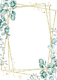 Aquarell eukalyptus rahmen. handbemalter blumenpflanzenrahmen mit silberdollar-eukalyptuszweigen