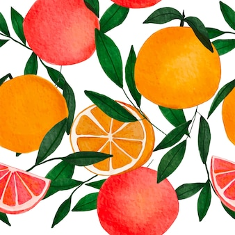 Aquarell exotische orangen grapefruits und grüne blätter nahtlose muster
