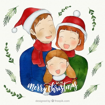 Aquarell familie weihnachtsszene