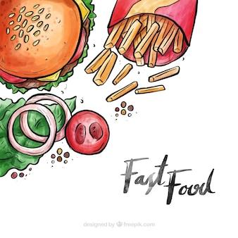 Aquarell fast-food-hintergrund