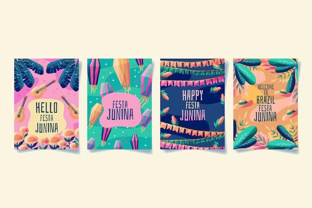Aquarell festa junina kartensammlung vorlage