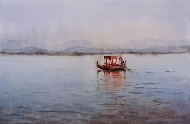 Aquarell-fischerboot auf dem wasser im meer mit der gezeichneten illustration des schönen blauen himmels