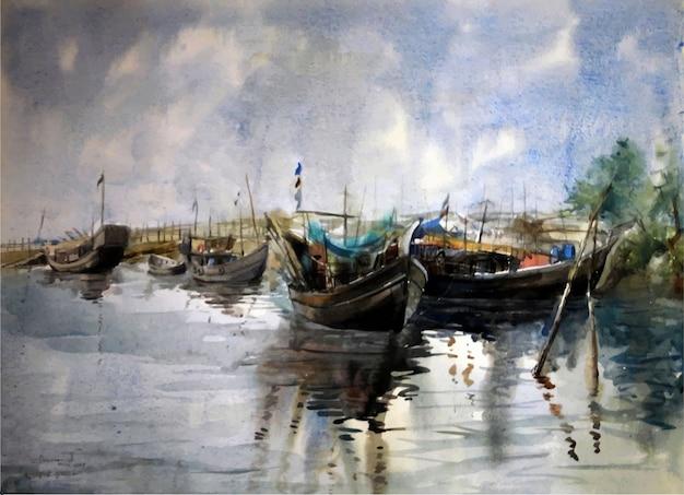 Aquarell-fischerboote auf dem wasser im meer mit der gezeichneten illustration des schönen blauen himmels