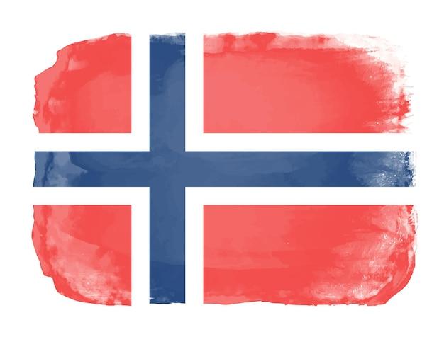 Aquarell flagge von norwegen