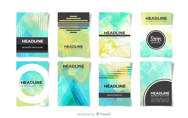 Aquarell flecken broschüre vorlage